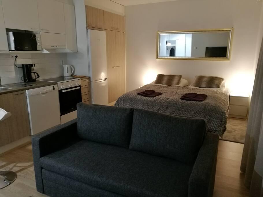 Spacy, cosy living/bedroom