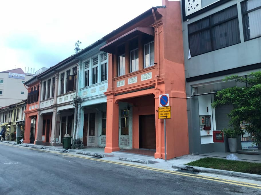 Street look traditional Singapore house