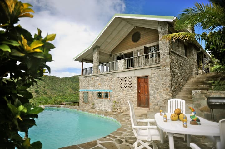 The Stone House, Marigot Bay- with pool & view!