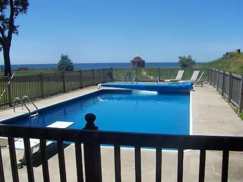 Lake Michigan frontage pool, beach, private yard.