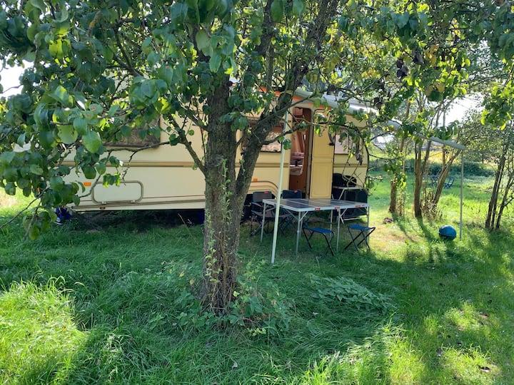 Wohnwagen auf lebendigem Seminarhof in der Natur