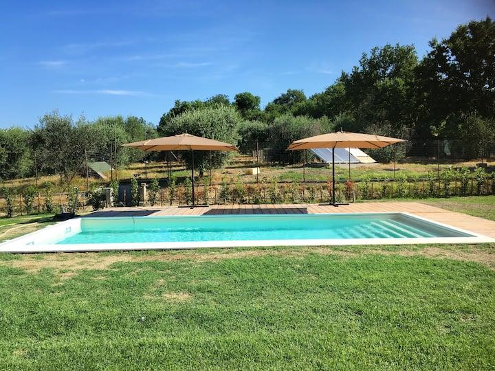 Villa mit 3 Schlafzimmern in Montecampano mit toller Aussicht auf die Berge, privatem Pool, möbliertem Garten