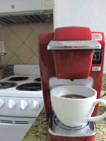 Fresh coffee in the morning before a nice walk in the beach
