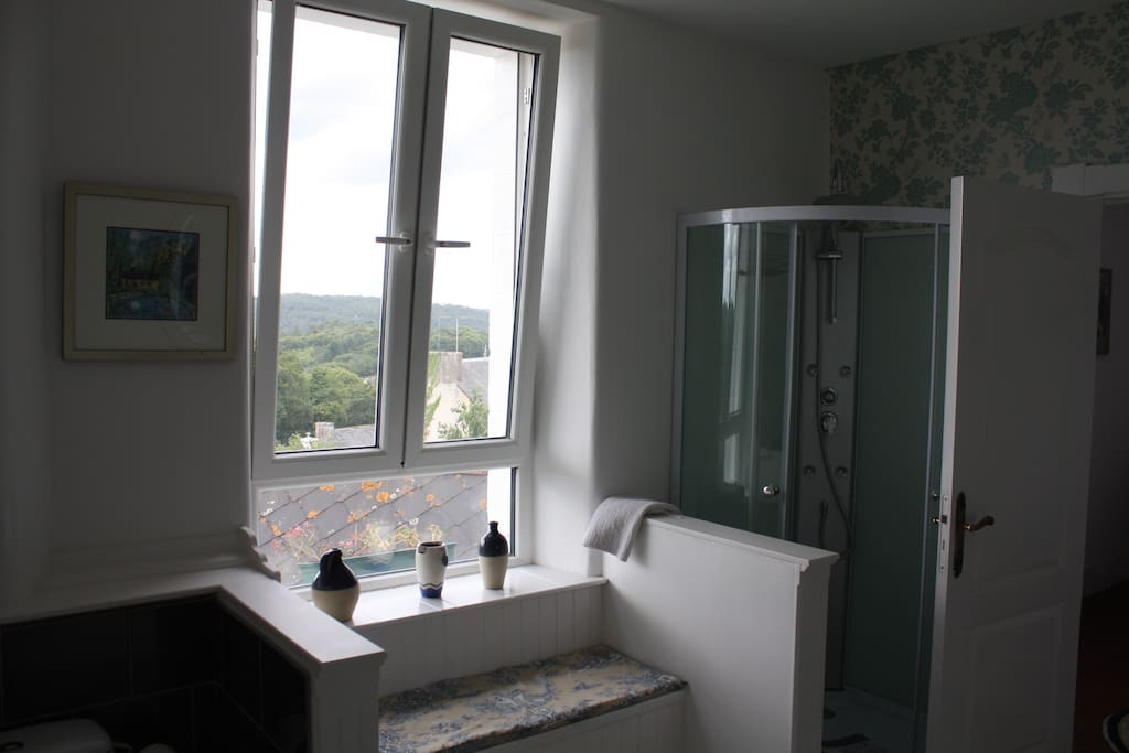 Huge bathroom, with lovely views over the woods and down to the lake