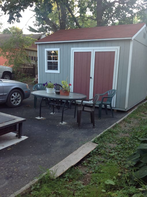 Shed, outdoor table