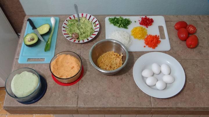 Arepas dough and fillings preparation