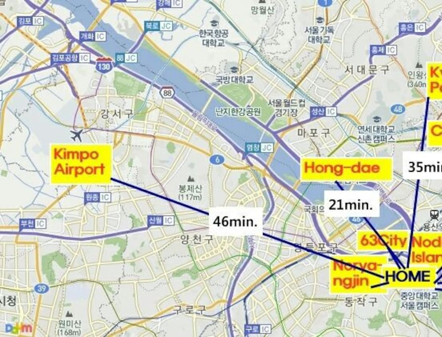 1 hour from the Incheon Airport (both bus and subway available)