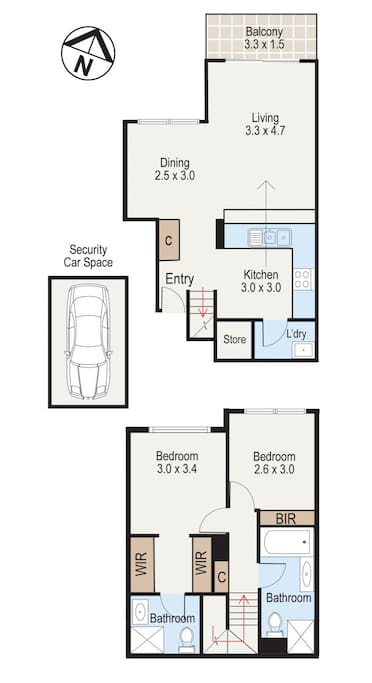 Floorplan - the rented room is the smaller one with 1 mirrored robe (bottom half, top room)