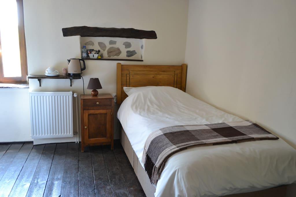 East room original wooden flooring and character nook shelf