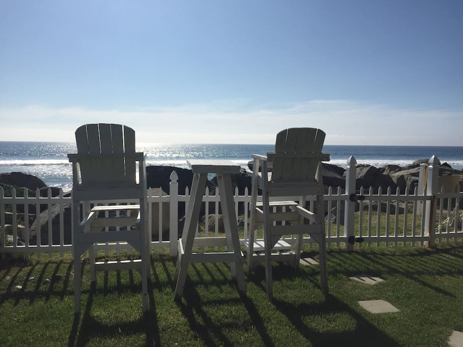 Lifeguard chairs on property give you view of peaceful beach, sunsets, and dolphins in the morning!