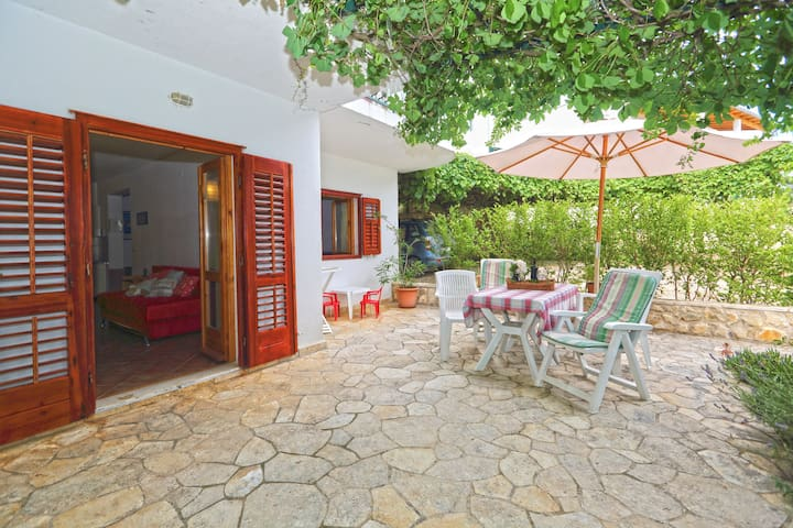 Terrace 15m2, partly covered + vines shade, table and chairs with a Sea view