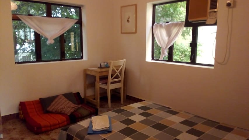 The room is spacious and quiet, with two windows