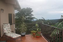 Open terrace off the living room has views to the gardens and the Volcan Baru.