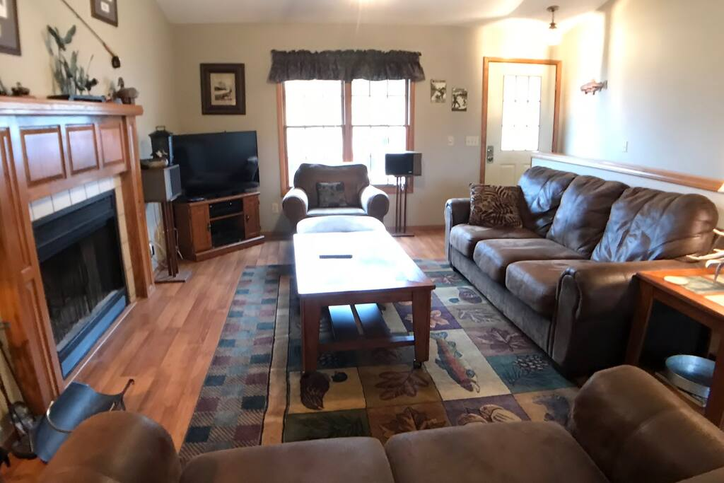 Living area, Large Flat Screen and Fireplace