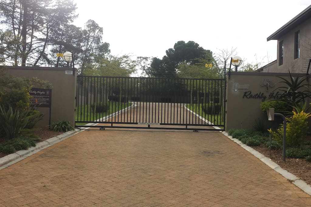 Gated entrance to security estate