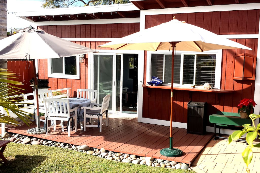 Enjoy meals on your private deck. This shows the front view of the detached studio cottage.