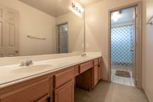 Both Upstairs bathrooms have double vanity and separe shower room