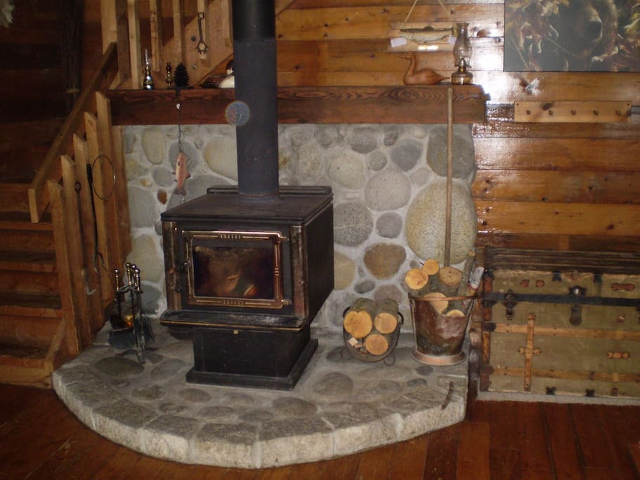 cozy wood stove/fireplace
