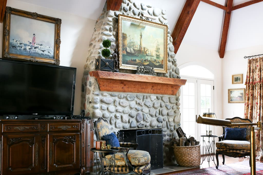 cozy stone fireplace for chilly nights