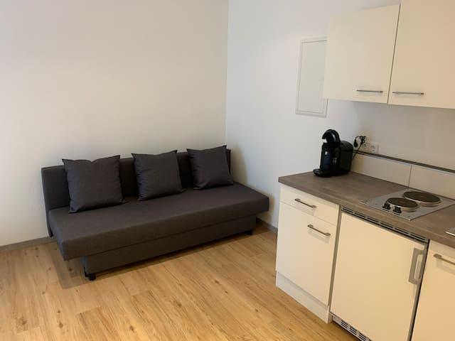 Ein Platz zum Entspannen. Alternativ kann das Schlafsofa auch zu einem weiteren Doppelbett (140cm Liegefläche) umgestaltet werden.