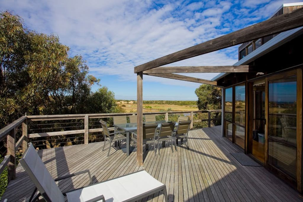 Open deck with water views.