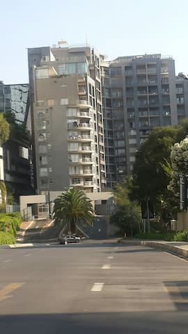 View of Sandhurst towers entrance when standing on Fredman drive