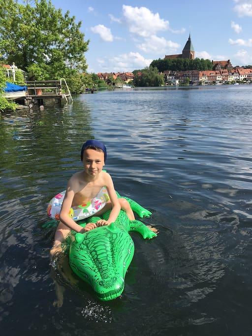 schwimmen auf dem See