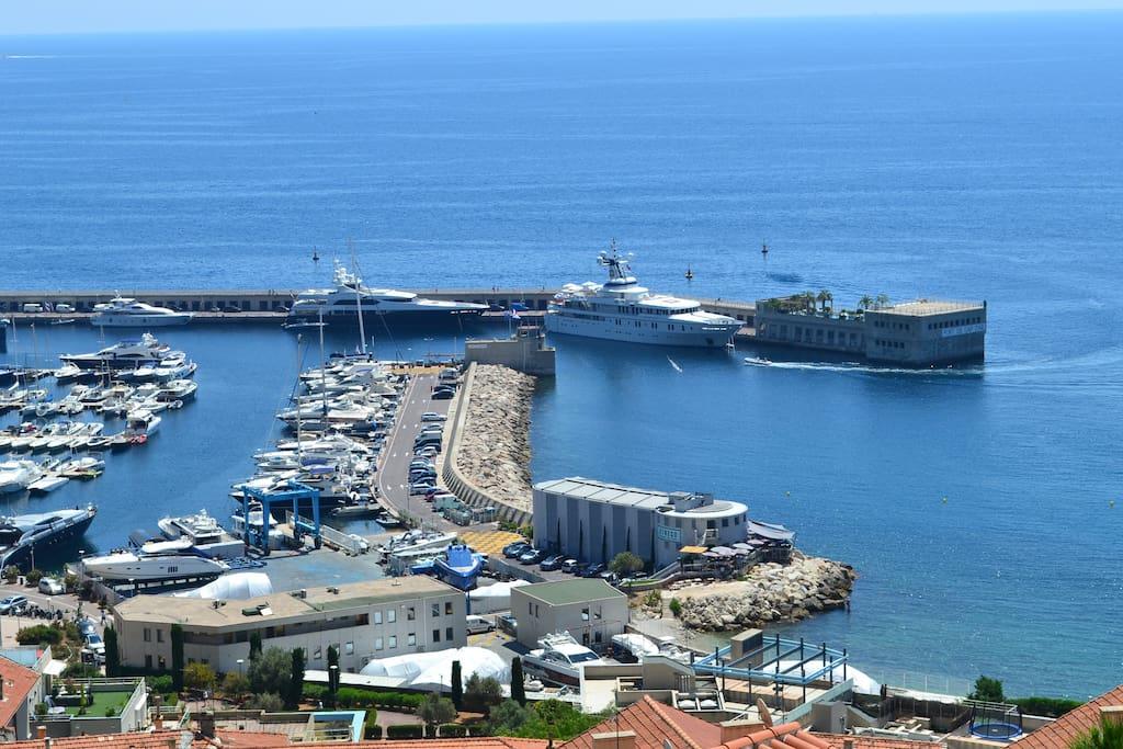 Sea view on Monaco from the Balcony (Monaco Fontvieille harbor).