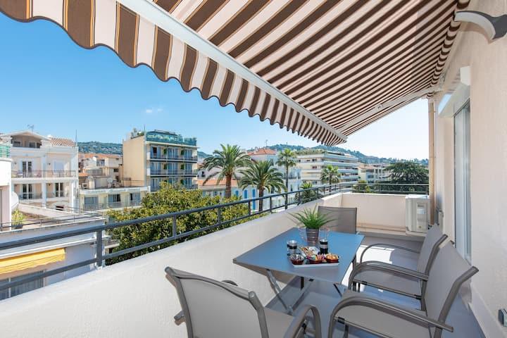 Cannes arriere Croisette étage, 3Pces et Terrasses