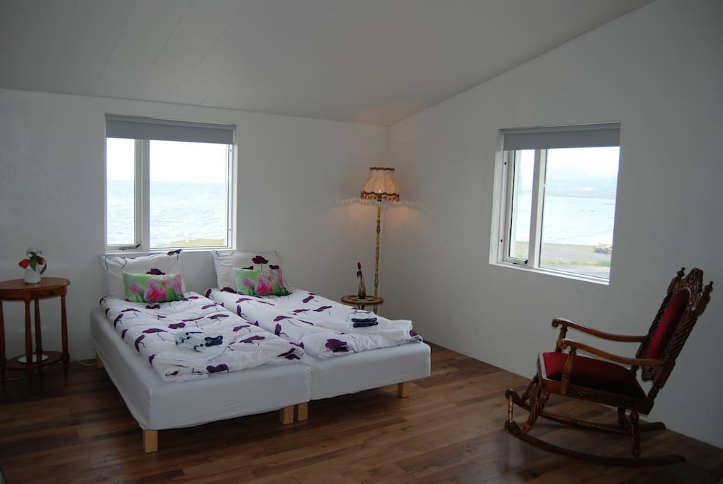 The seaside part of our adjacent rooms.  Extra beds can be added to sleep upto 6 persons.