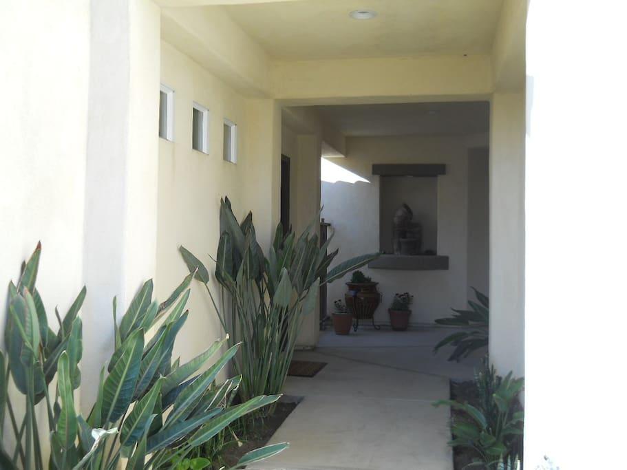 Covered entryway to front door.