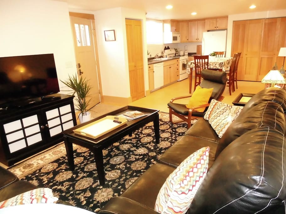 Open floor plan with living room and eat in kitchen.