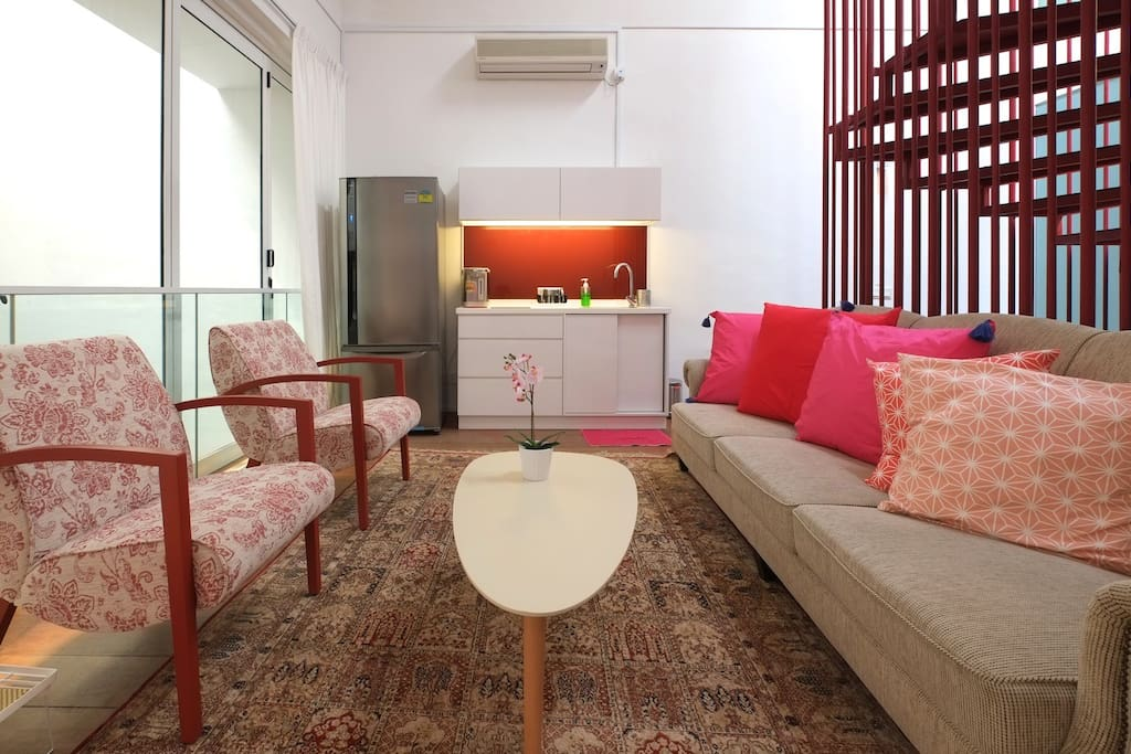 Within the apartment is a private Living Room and Pantry. The Pantry has a fridge, hob and sink for preparation of light meals.