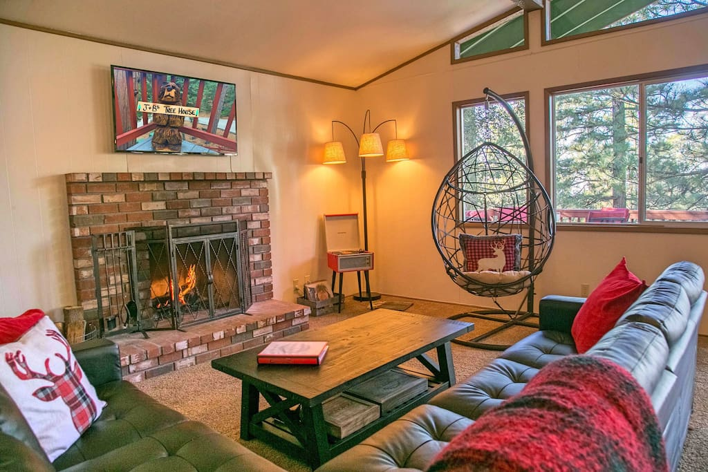 Ample seating in the spacious living room.