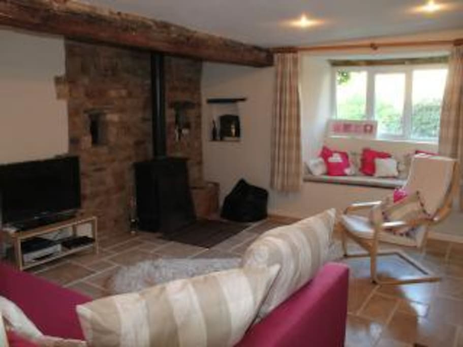 A spacious living room with  multi fuel burner and comfortable bed settee for additional or immobile guests