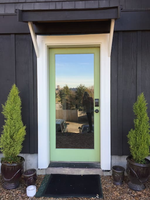 This is the private entrance with a key pad for guests.