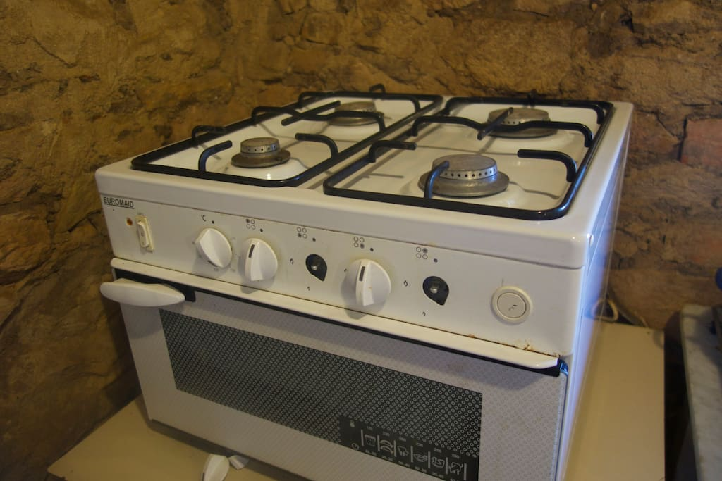 Kitchen: we use bottled gas and the oven is small but big enough to bake a batch of scones.