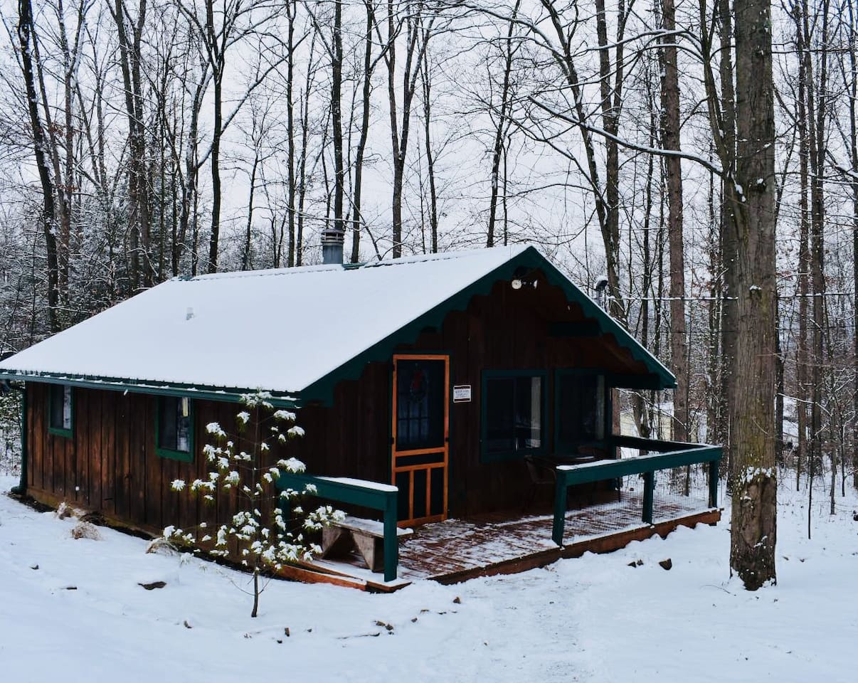 Lumberjack Cabin after a snowfall! Come enjoy the beauty of the PA Wilds during this festive time of the year.