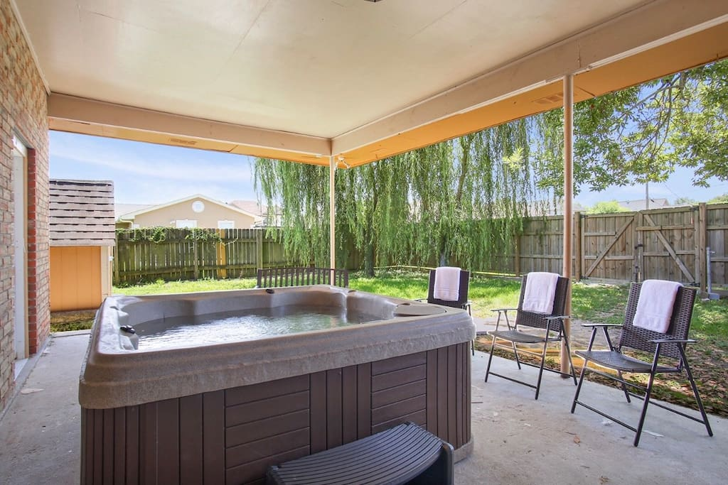 Outdoor Hot Tub & Seating Area!