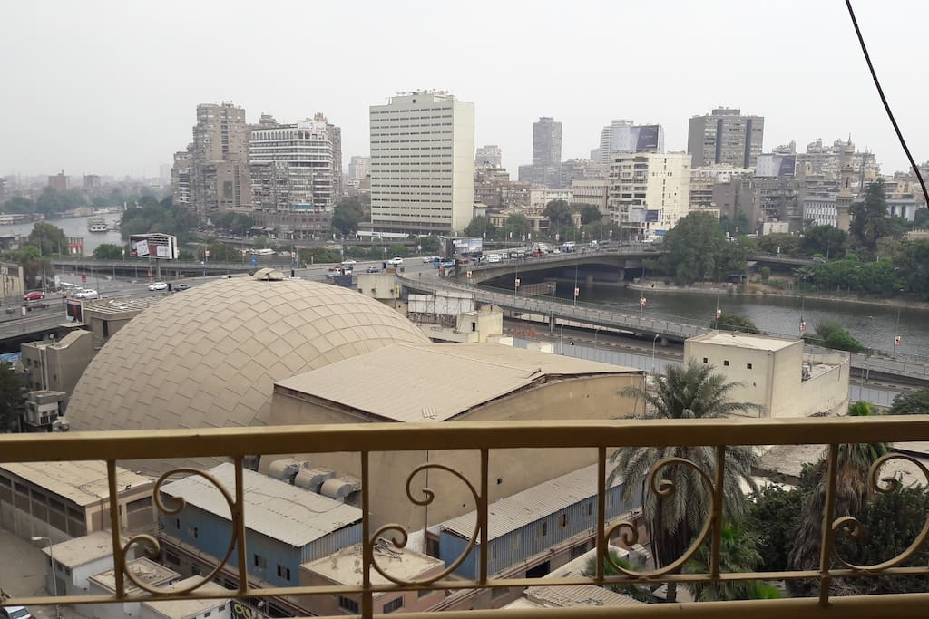 View of the Nile, Zamalek Island, and the 15th of May Bridge