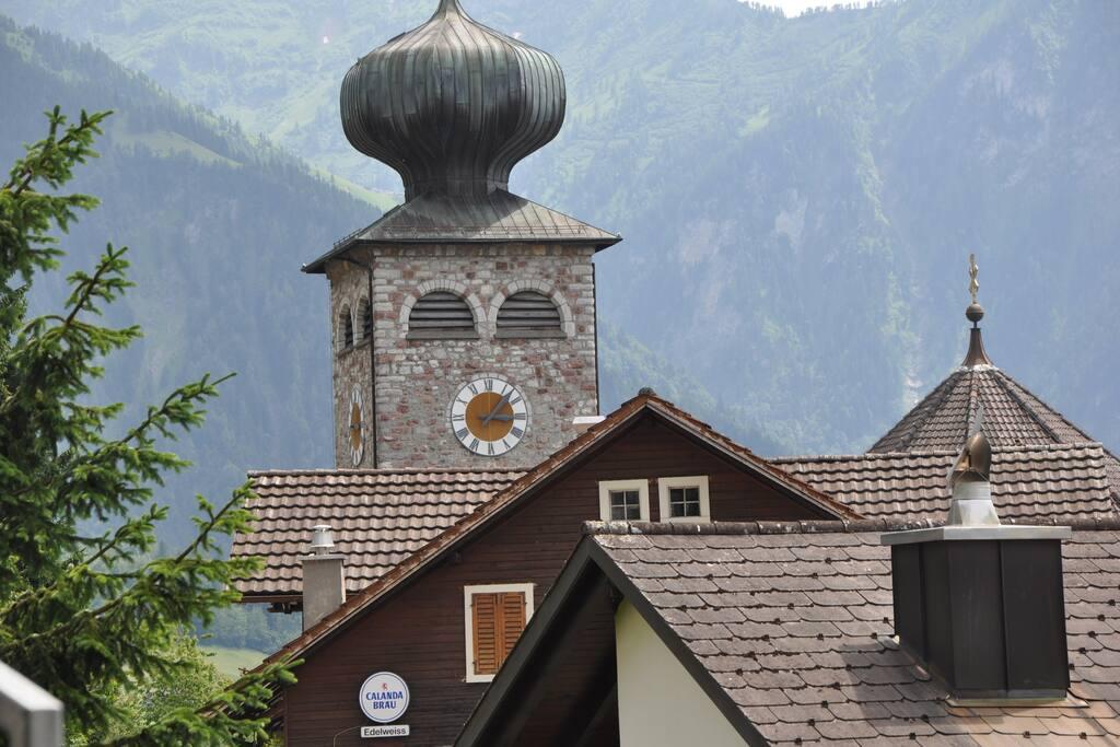 Aussicht auf das Dorfzentrum von Triesenberg