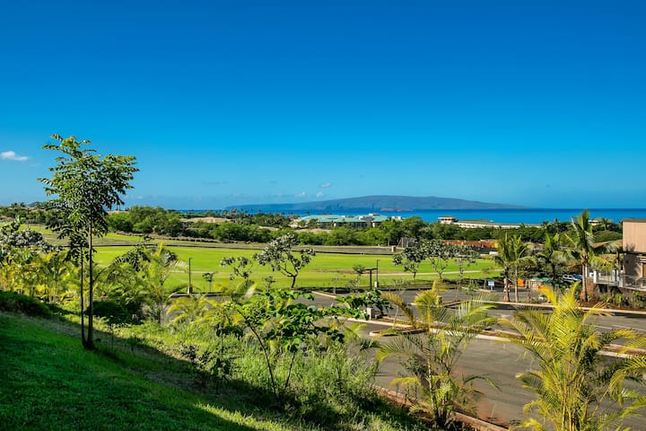 Ocean view with views of the Molokini, Kahoolawe from our lanai and Master bedroom. You can also see Lana'i from the patio.