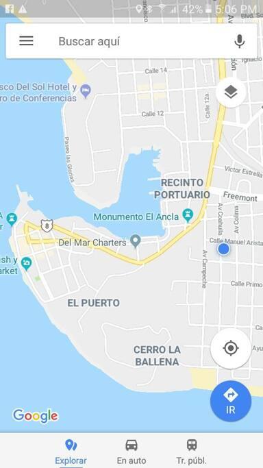 ubicación de la casa (punto azul)
