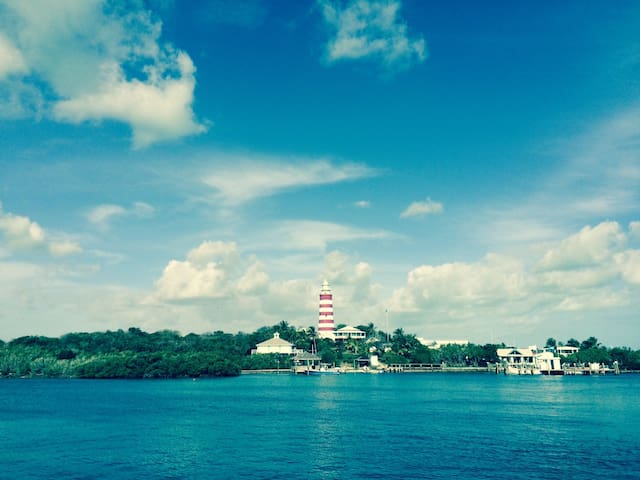 Elbow Reef Lighthouse over Hopetown harbor
