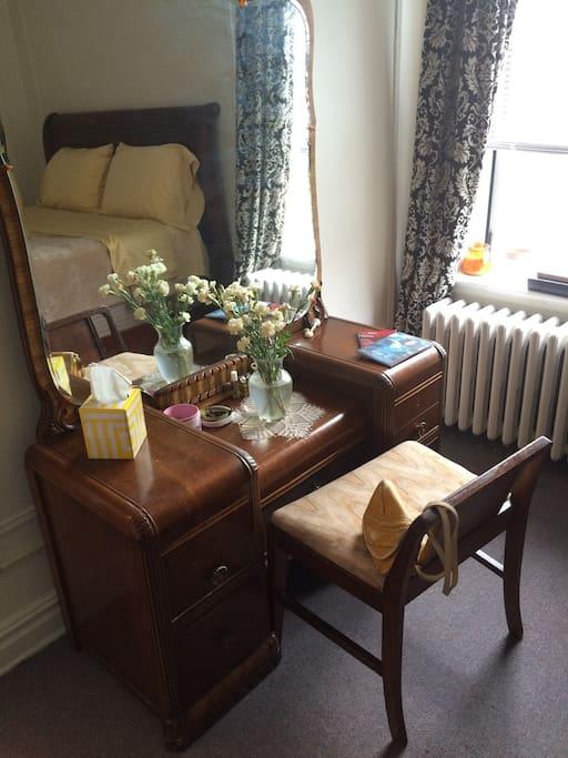 Vanity in bedroom