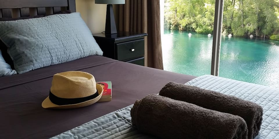 Master bedroom with beautiful river views