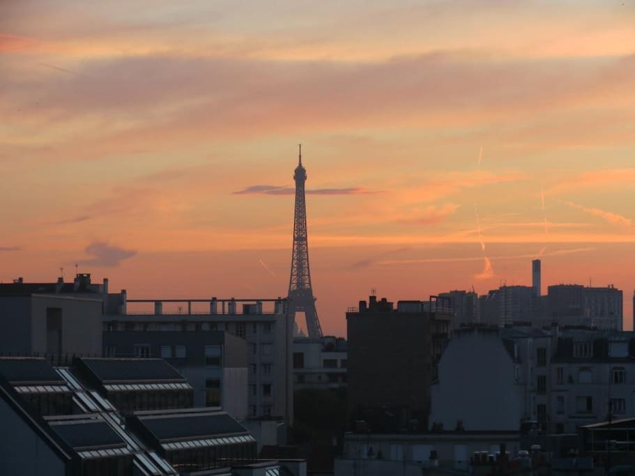 View from my balcony -The Eiffel Tower during Sunrise