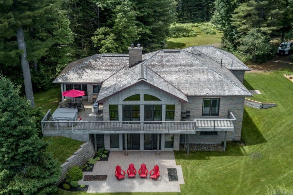 Aerial view of the private 4.5 acre property.