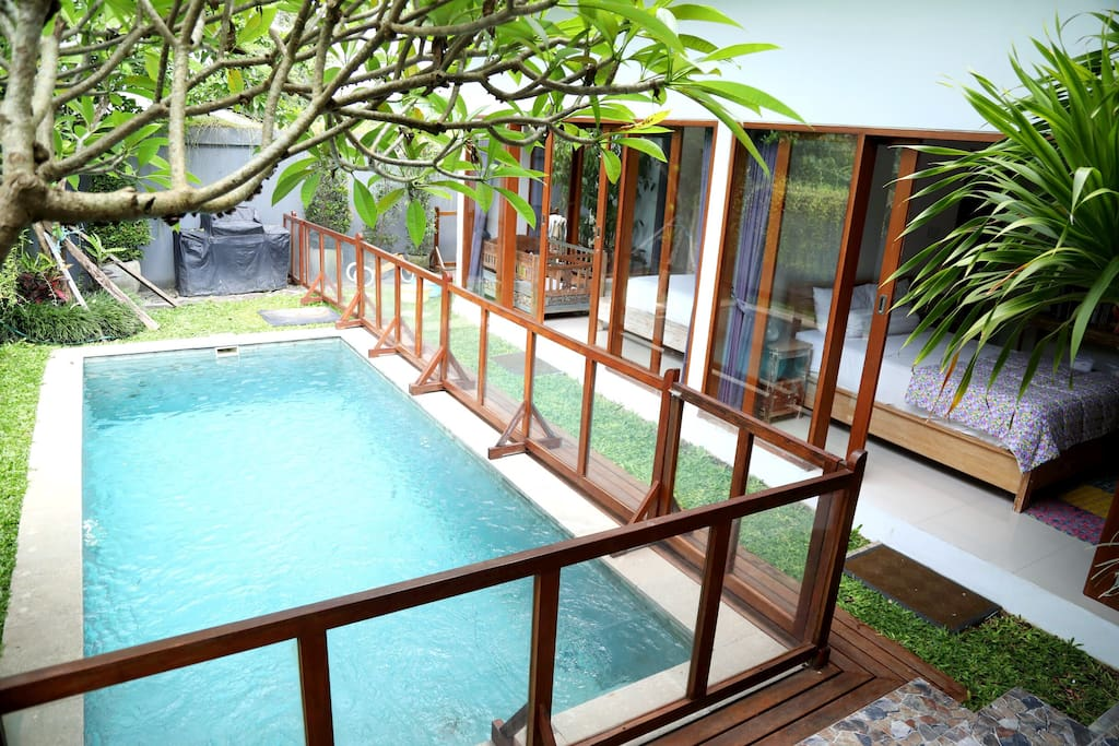 Fenced in pool.