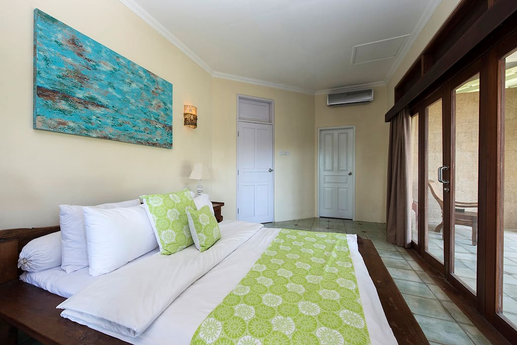 Pool view bedroom, door window closed